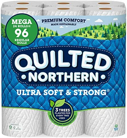 Quilted Northern Ultra Soft and Strong Earth-Friendly Toilet Paper, 24 Mega Rolls = 96 Regular Rolls, 328 2-Ply Sheets Per Roll Packaging May Vary