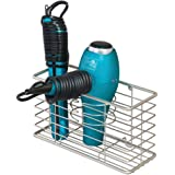 mDesign Farmhouse Metal Wire Bathroom Wall Mount Hair Care & Styling Tool Organizer Storage Basket for Hair Dryer, Flat Iron,