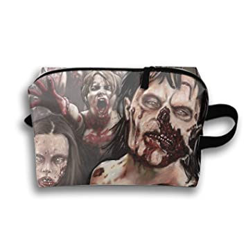 Dark Zombie Portable Travel Cosmetic Bags Trapezoidal Clutch Bag with Zipper