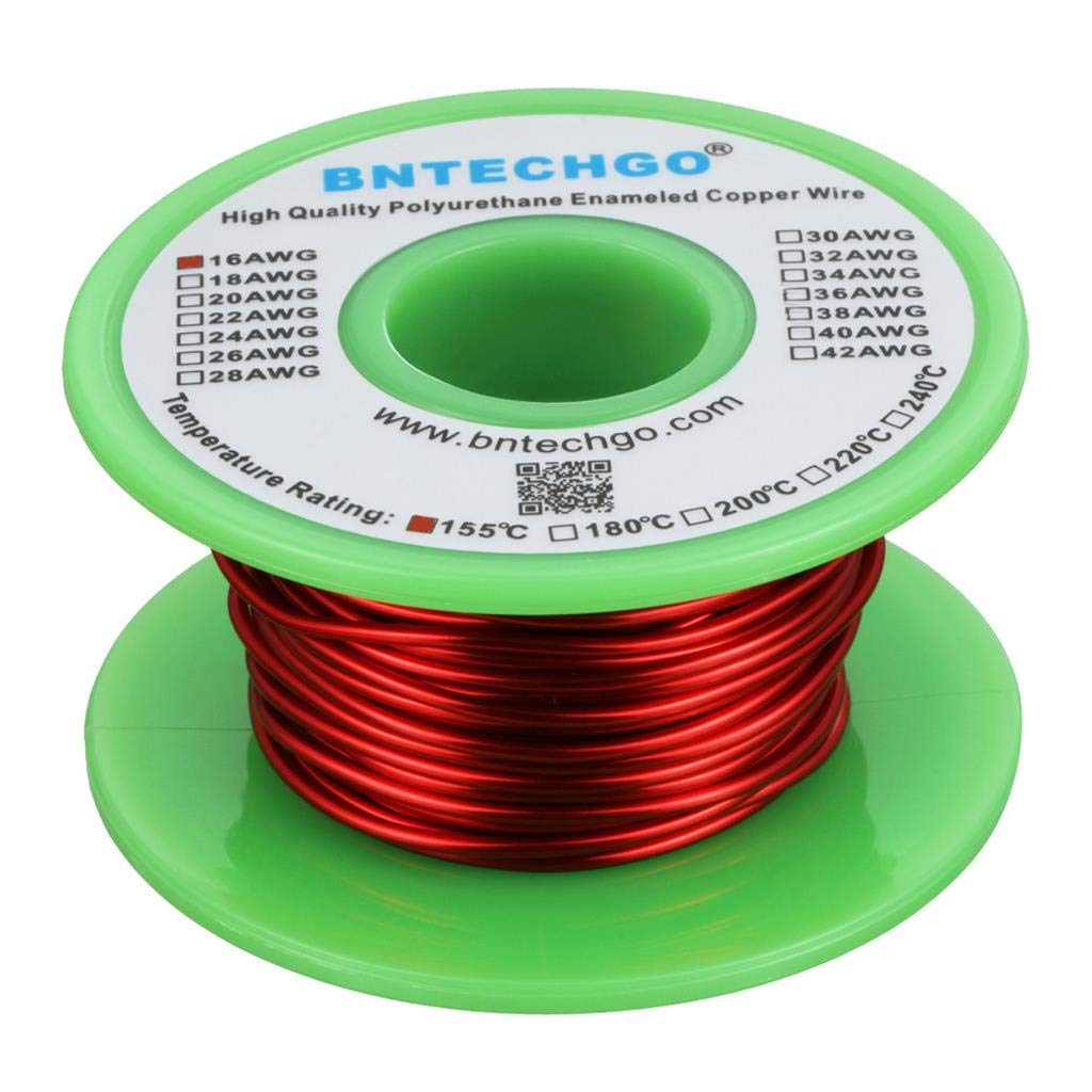 4 oz BNTECHGO 16 AWG cable magn/ético 0,0492 de di/ámetro 1 bobina rojo temperatura nominal 155 grados C ampliamente utilizado para transfor alambre de cobre esmaltado alambre de viento con im/án esmaltado