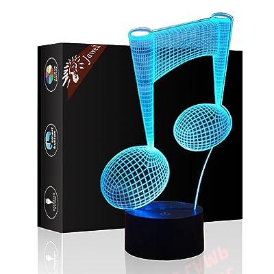 3d Illusion lampe Jawell lumière de nuit Piano Note 7couleurs changeantes Touch USB Table Nice Cadeau jouet Décoration