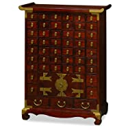 ChinaFurnitureOnline Apothecaries Medicine Cabinet, 29 Inches Korean Style Chest of Drawers Walnut Finish