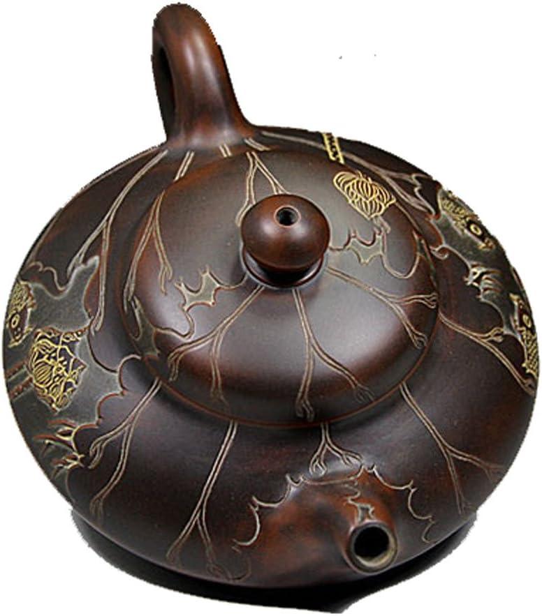 Qinzhou Nixing陶器ティーポットPure手彫刻クラフトマスターMaking年後魚