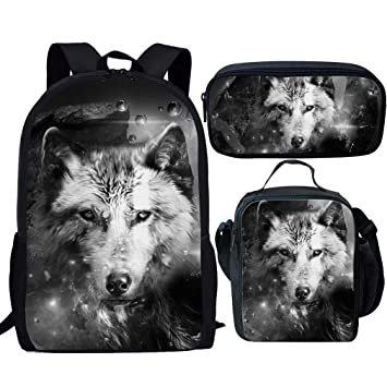4406e9c1297f Showudesigns Wolf Print Kids Backpack with Lunchbox Girls for School Pencil  Case Holder Children Schoolbag Set 3PCS