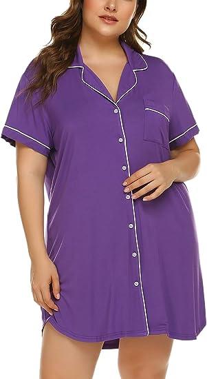 Womens Plus Size Sleep Shirt Short Sleeves Pajama Button Down Top Nightgown Boyfriend Night Shirt Sleepwear(16W-24W)