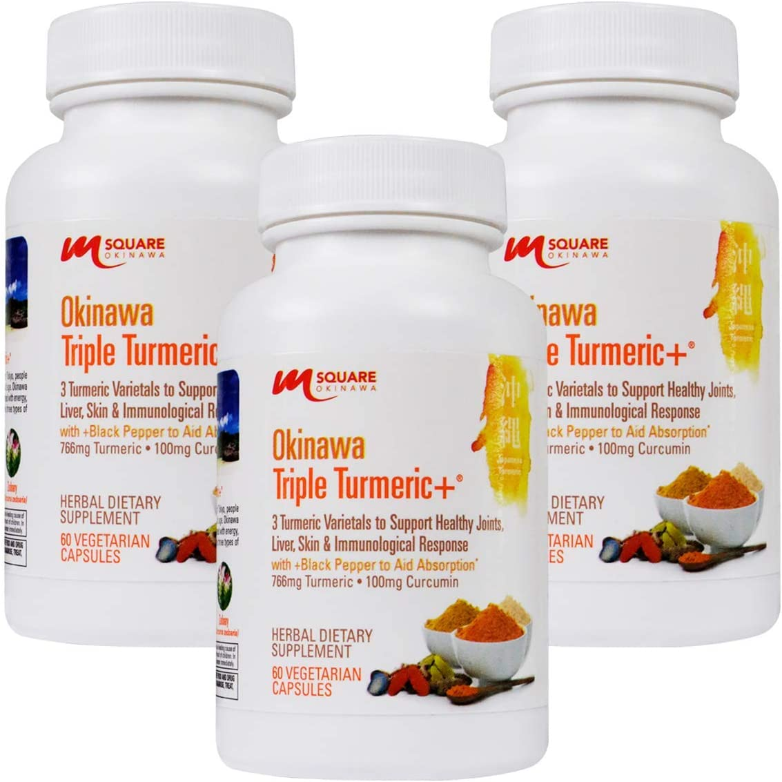 Okinawa Triple Turmeric 3 Turmeric Varietals with Black Pepper to Aid Absorption. 180 Vegetarian Capsules. 3 Bottles