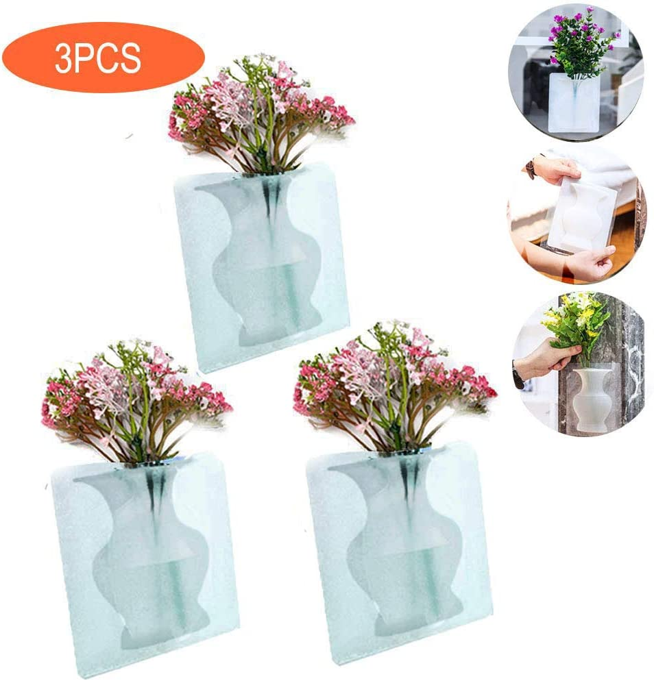 VISECO 3PCS Silicone Magic Vase,Strong Sticky Flower Pot,Wall-Mounted Rubber Small Vase Reusable Detachable,Office Potted Vase,Party,Exhibition,Wedding,Shop,Home Kitchen Decoration