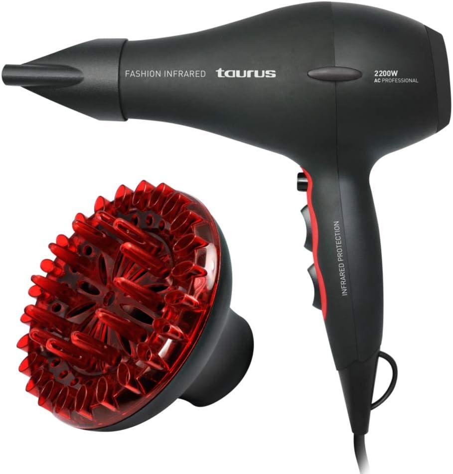 Taurus Fashion Infrared - Secador de pelo (2200 W, 2 velocidades, 3 temperaturas, revestimiento cerámico), negro y rojo