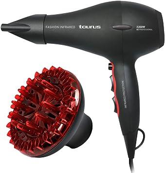 Oferta amazon: Taurus Fashion Infrared - Secador de pelo (2200 W, 2 velocidades, 3 temperaturas, revestimiento cerámico), negro y rojo