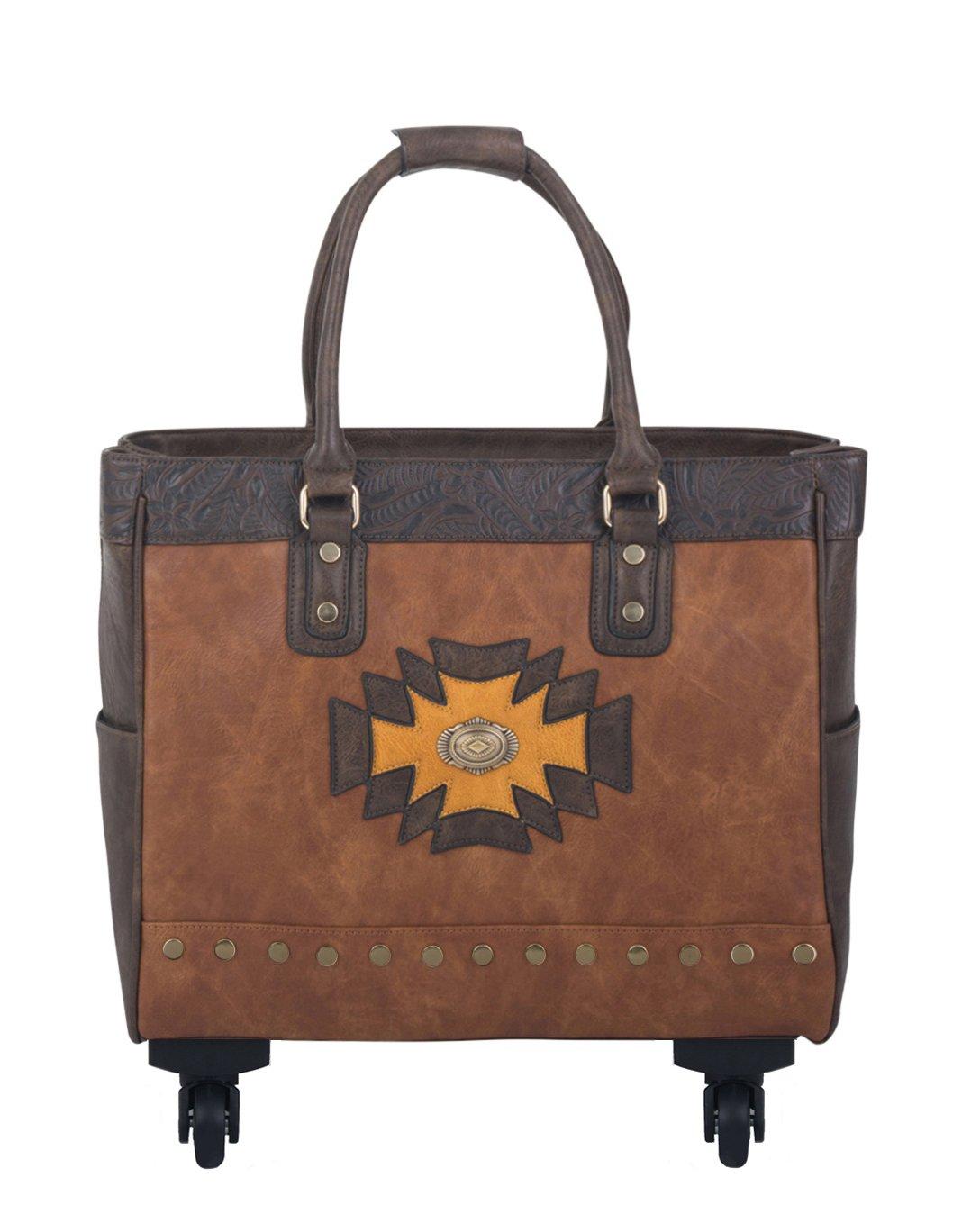 THE SANTA FE Brown Spinner Wheel Rolling iPad Tablet or Laptop Tote Carryall Bag