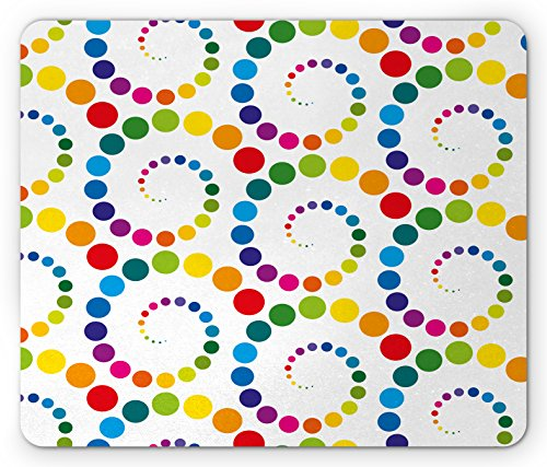 Lunarable Colorful Mouse Pad, Abstract Circles Made with Gradient Dots and Spots Funky Ring Retro Art Print, Standard Size Rectangle Non-Slip Rubber Mousepad, Multicolor -