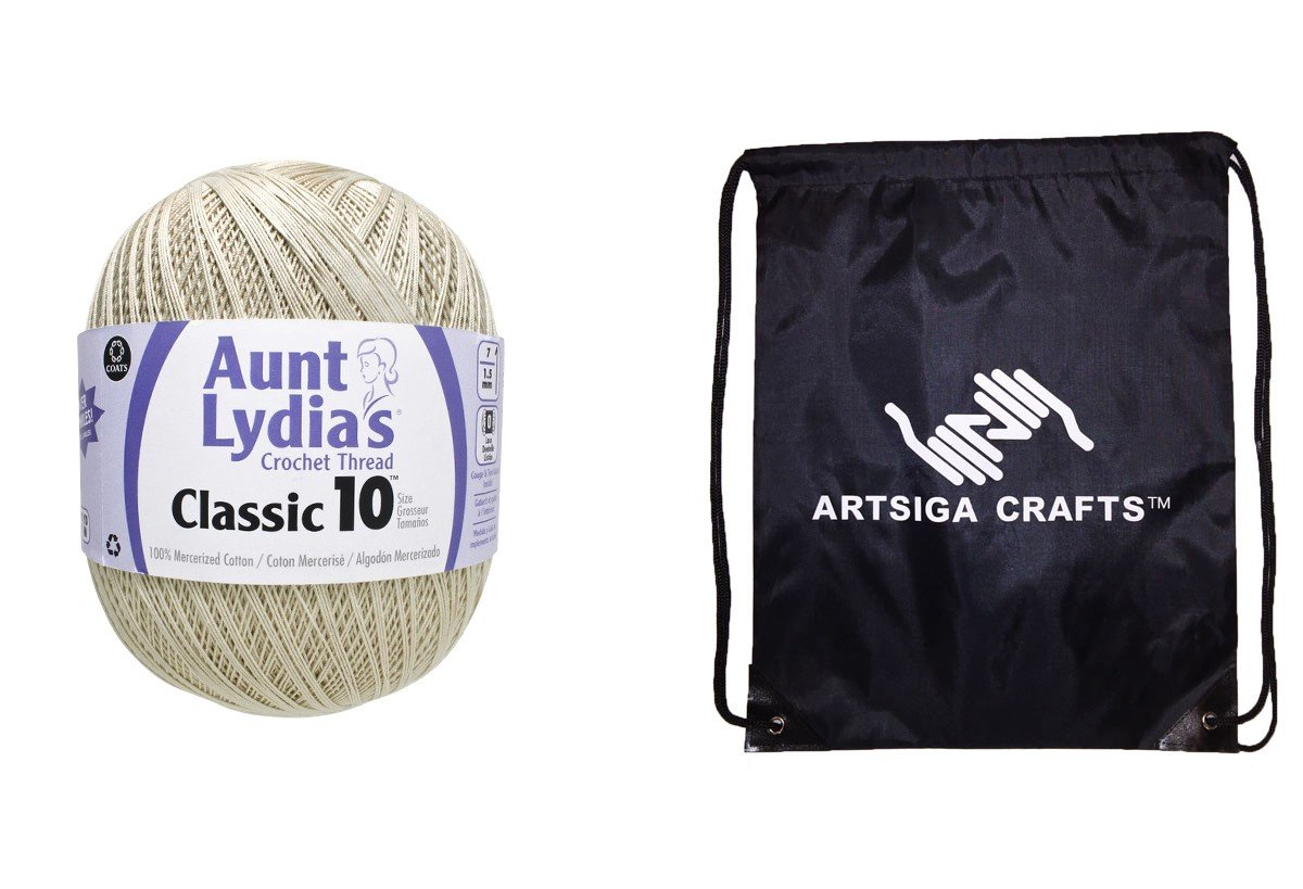 Aunt Lydia's Crochet Thread Classic Crochet Thread Size 10 Jumbo (1-Pack) Natural 153-0226 Bundle with 1 Artsiga Crafts Project Bag