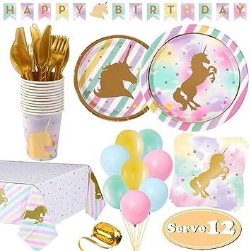 Fiesta Unicornio Cumpleaños 12 Invitados, Platos Vasos ...