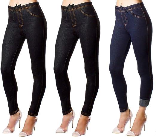 NEW Ladies Stretchy Denim Look Skinny Jeggings Leggings Plus Size 6-26 UK