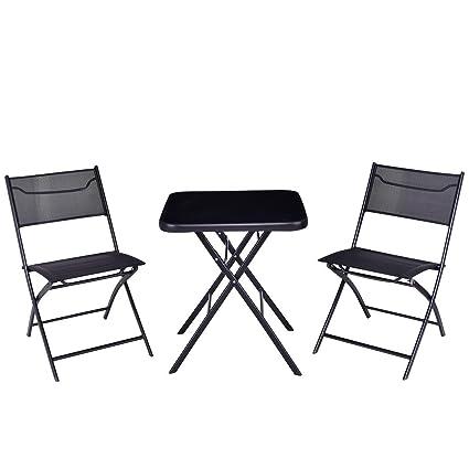 Terrific Amazon Com 3 Pcs Black Steel Outdoor Garden Folding Square Evergreenethics Interior Chair Design Evergreenethicsorg