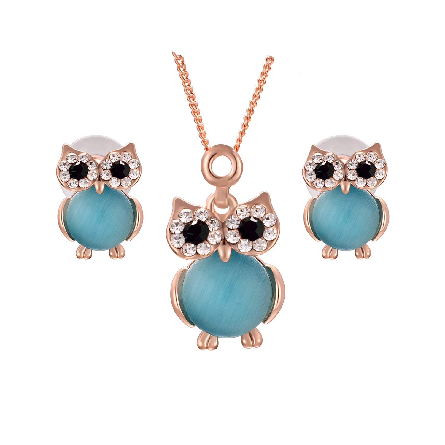 Yoursfs Blue Owl Jewelry Set 18k Rose GP Simulated Opal Earrings and Necklace Set Italina
