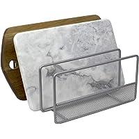 Home Basics SS41964 3 段网眼钢具整理多功能厨房橱柜、烤盘、砧板和食品收纳架,银色