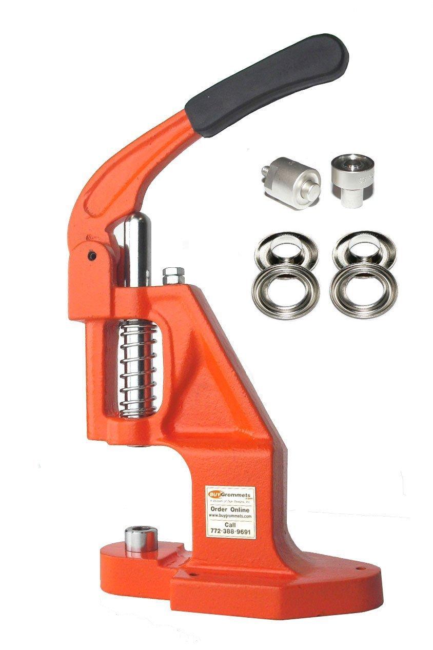 ClipsShop BGTEP-XL Grommet Machine Complete Kit Includes #2 3/8'' Long Neck Nickel Grommets Qty 500 & #2 3/8'' Die Set