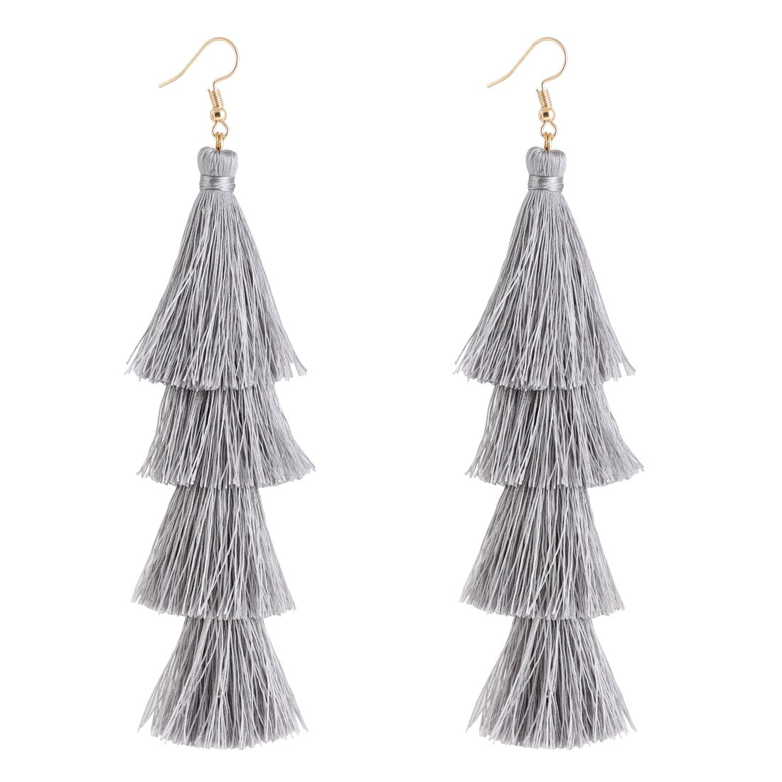 4c110ad05 These fun earrings feature four layers of tiered fringes in a voluminous,  hula-skirt inspired shape. 2. Approx. Measurements: 5 inches Weight:0.6  oz/17g