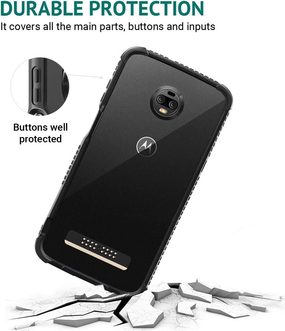 Z3 Play Protective Flexible TPU Bumper Case Cover//Compatible with Moto Mods All Matte Black Motorola Moto Z3 Casewe