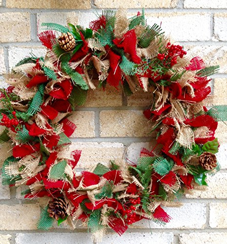 Prelit Classic Burlap Holiday Wreath . Christmas Wreath. Magdalene