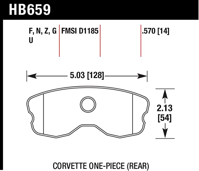 Hawk Performance HB658Z.570 Performance Street Brake Pad for Chevy Corvette GS//Z06