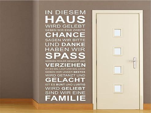 Wandtattoo FAMILIE IN DIESEM HAUS Wohnzimmer Flur Diele Sprüche ...