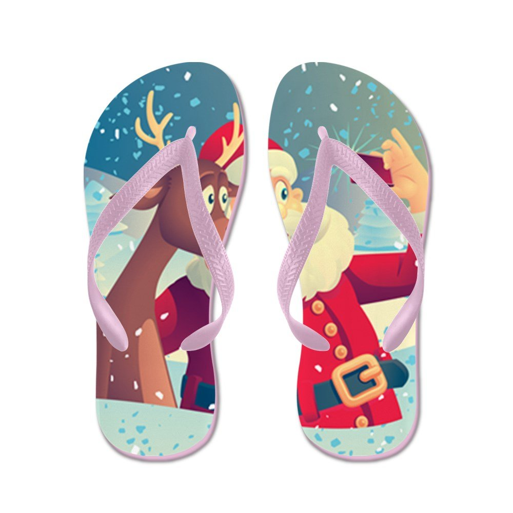Truly Teague Kids Santa and Rudolf taking a Selfie Rubber Flip Flops Sandals KDFLFLPSANRUDSELF-MAR2017
