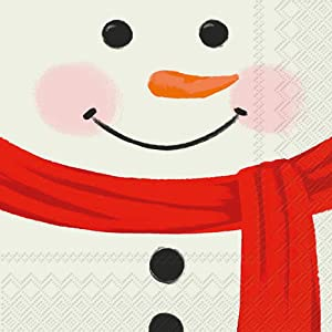 "Christmas Paper Napkins Funny Cocktail Napkins Snowman Decorations Christmas Napkins 5""x 5"" Pak of 40"