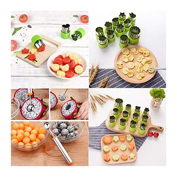 TIMGOU 12 Pcs Vegetable Fruit Cutter Shapes Set with Melon Baller Scoop and Cleaning Brush, Fruit and Mini Cookie Stamps Mold for Kids Crafts Baking Decorating Food-Green 8 12 Different Shape: There are 12 pcs different shape cutters in the package, contains shape of fish, rabbit, flower, duckling, star, strawberry, mushroom and so on. Come with melon baller and cleaning brush: The stainless steel fruit scoop helps to make ball shape fruit to decorate your made dish, small brush to clean the mold in hard reaching corner. Simple and extensive use: Just press the twist gently, you can get a pattern you want. Widely used for sugar cake, DIY biscuits, chocolate, mini pie, cookies, make fruit and vegetables into multiple shapes for Salad or fruit tray, suit for kids having fun in DIY.