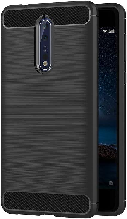 AICEK Funda Nokia 8, Negro Silicona Fundas para Nokia 8 Carcasa ...