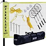 Park & Sun Sports Portable Indoor/Outdoor Badminton Net System with Carrying Bag and Accessories: Professional Series