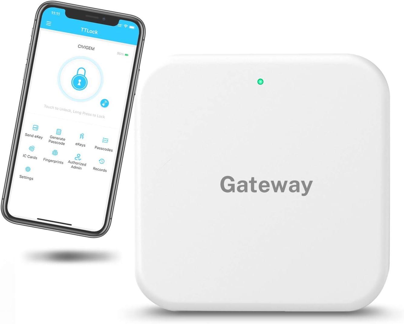 Keyless Entry Door Lock,Smart Door Lock,Smart Lock Front Door, Remotely Control Your Smart Phone, Gateway Works with 2.4 GHz,Works for TTLock APP,Wi-Fi Gateway by CIVIGEM