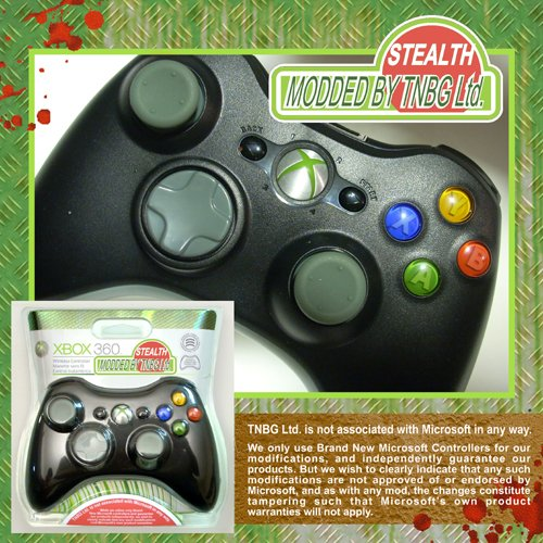Black Xbox 360 Rapid Fire Wireless Controller Stealth COD 5 Mod