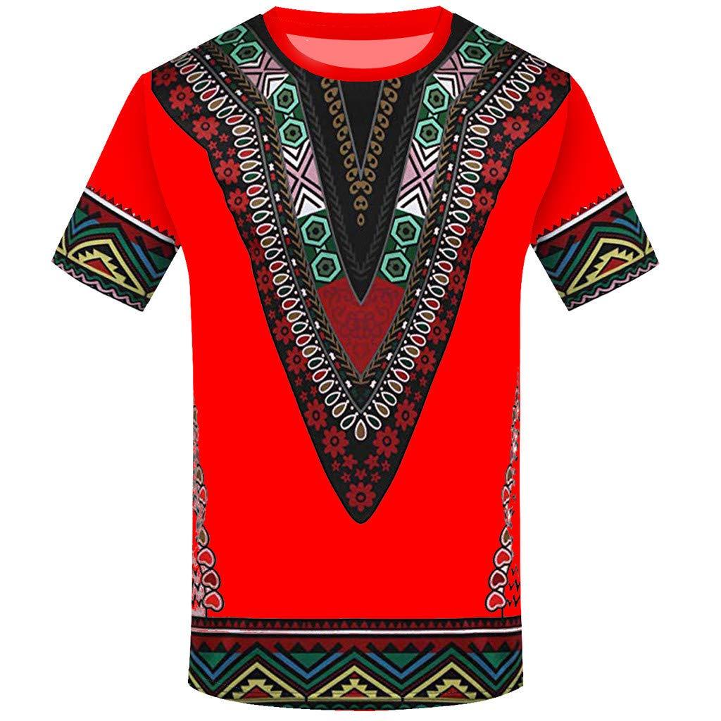 Generic Mens Plus Size African Print Dashiki Slim Shirt Top Blouse