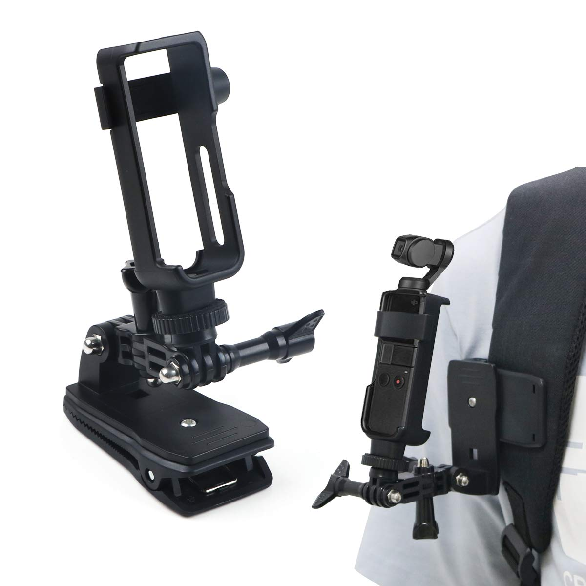 Backpack Clip FPVERA Backpack Clip Mount Tripod for DJI OSMO Pocket Accessories Kit Adjustment arm Backpack Clip Protective Mount