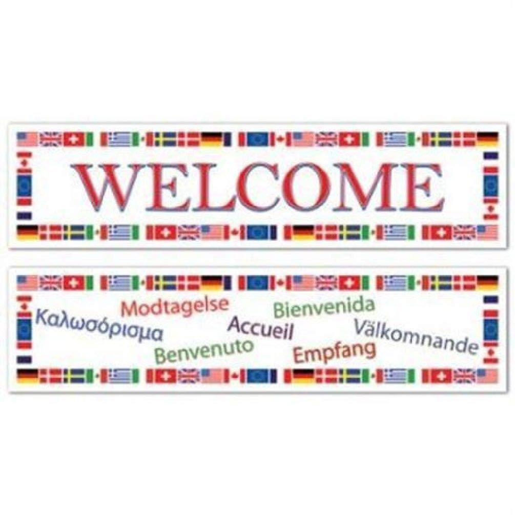 hersrfv home International Welcome All-Weather Banner Set 2 Pack Olympics Travel Decoration