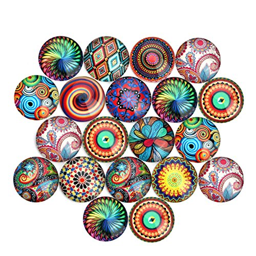 Stone Flat Round Beads (ROSENICE Glass Cabochons Round Dome Cabochons 12mm Mixed Color for Jewelry Making 20pcs)
