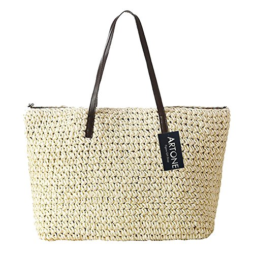 Artone Classic Straw Weaving Summer Beach Shoulder Bag Tote Handbag Ecofriendly Shopping Bag White