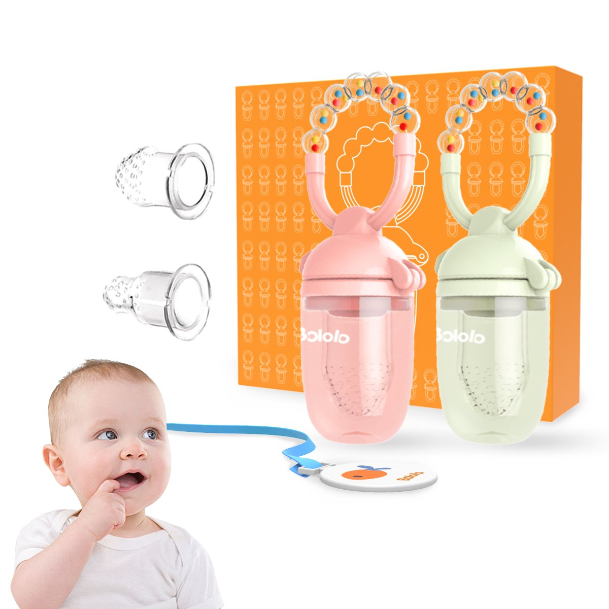 Baby Food Feeder/Fruit Feeder Pacifier (2 Pack) Baby Pacifier Teething Toys with Rotating Rattle Design Include Two Free Replacement Silicone Mesh by Bololo