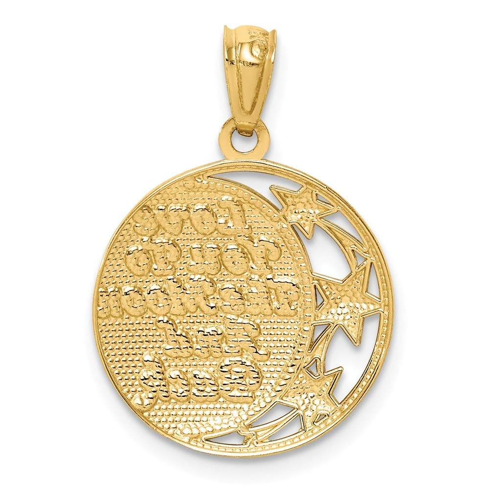 FB Jewels 14K Yellow Gold Yellow Gold and Rhodium Moon and Star Pendant