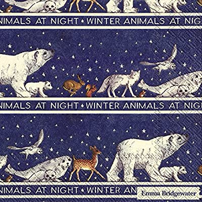 Emma Bridgewater 20 Paper Luncheon Napkins Robin in a starry night Christmas 33 cm square