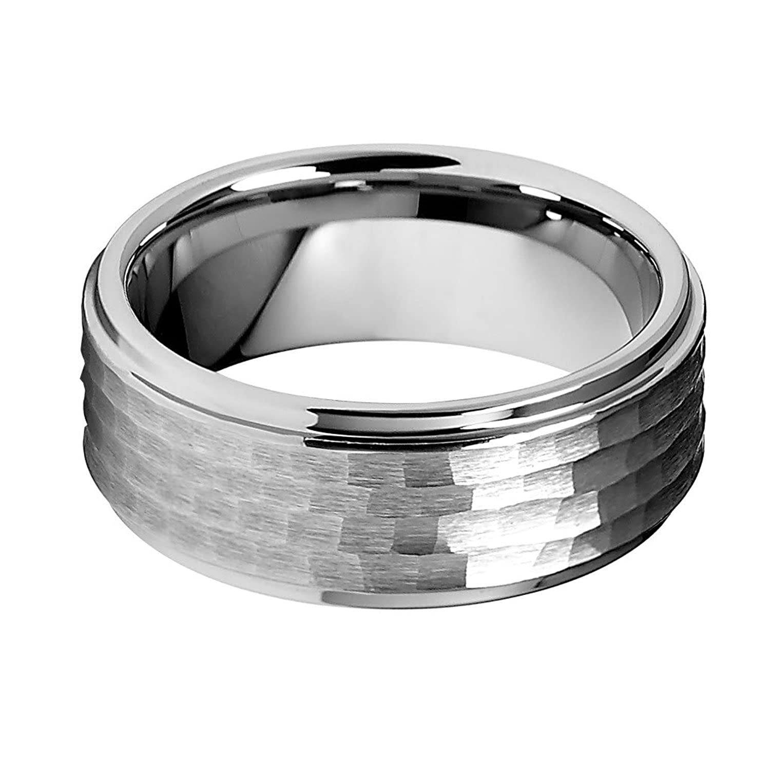 9mm Hammered Men s Tungsten Wedding Band
