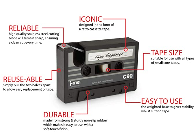 j-me cassette tape dispenser - black  An ideal stationery accessory for the  home or office desk | compatible with scotch tape & 3M tape