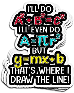 3 PCs Stickers Math Equation That's Where I Draw The Line 3×4 Inch Die-Cut Wall Decals for Laptop Window Car Bumper Helmet Water Bottle