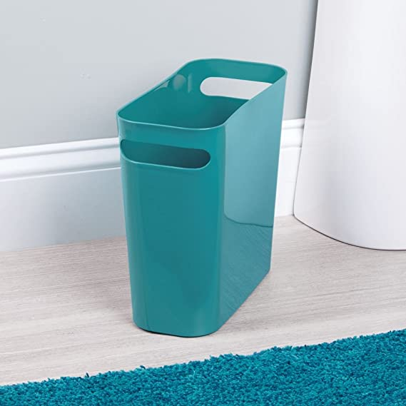 Amazon.com: InterDesign Una Wastebasket Trash Can   10 Inch, Teal: Home U0026  Kitchen