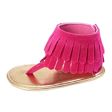 485a53260c2a5 Cute Baby Girl Sandals Summer Tassel Flower Soft Sole Sneakers Toddler  Shoes (M: 6~12 Months, Hot Pink)