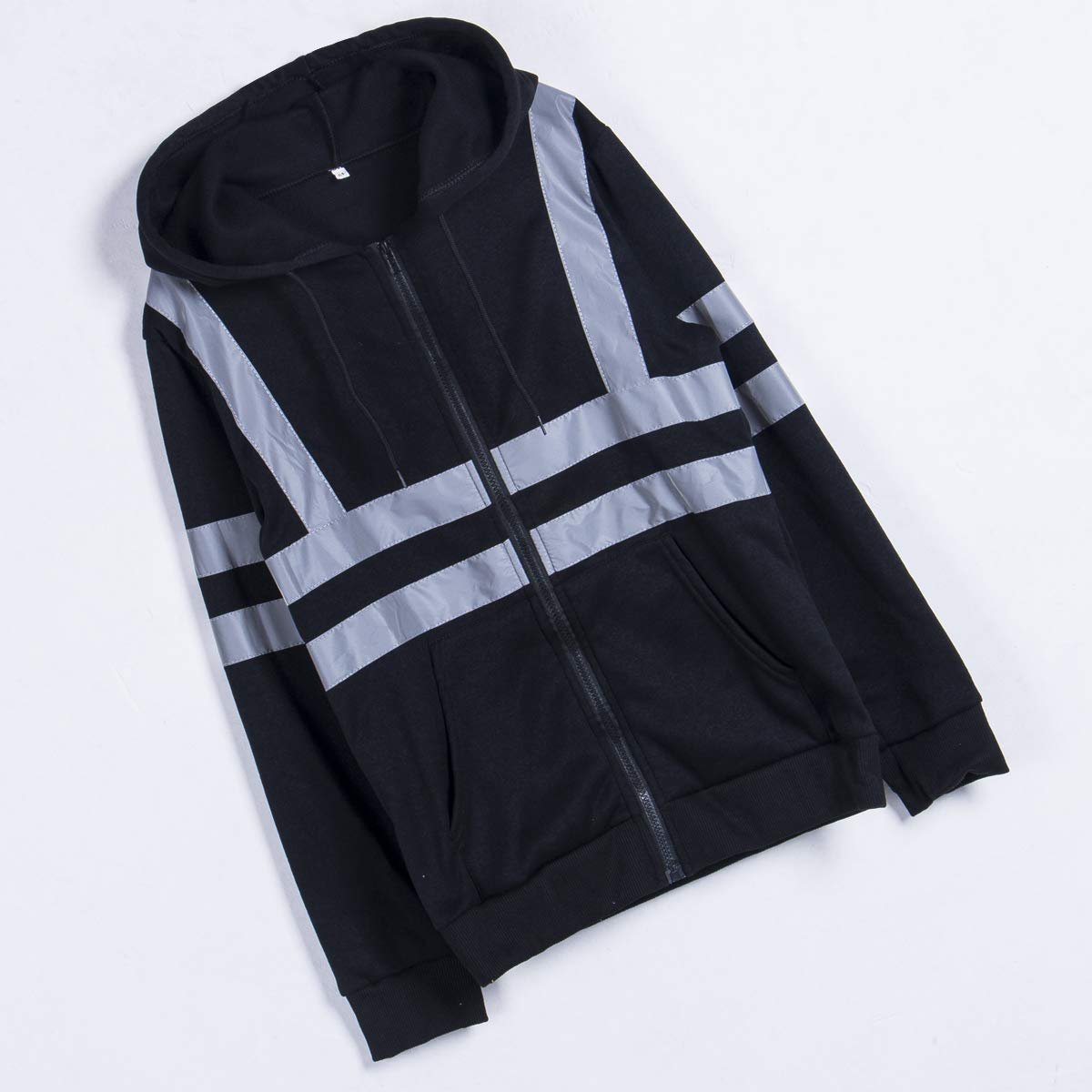 Mens Night Running Cycling Jacket High Visibility Reflective Stripes Safety Construction Traffic//Warehouse Protection Hoodies