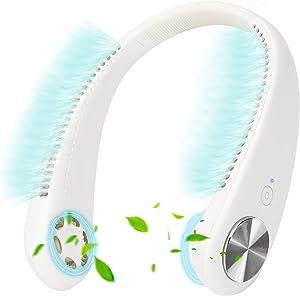 Hands Free Bladeless Neck Fan,Personal Mini Bladeless Necklace Fan USB Rechargeable Wearable Fan for Women Men Kids Sports Travel Office Outdoor