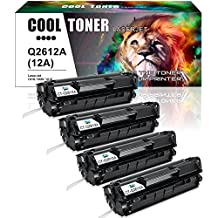 Cool Toner 4 Packs Q2612A 12A Toner Compatible for HP 12A Q2612A Toner Cartridge Q1261A HP LaserJet 1020 1018 1012 1022 3022 3055 Toner Cartridge
